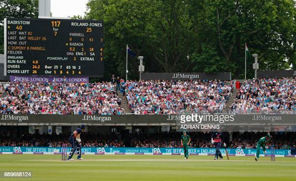 South Africa's Kagiso Rabada bowls to England's Jonny Bairstow during the third OneDay International cricket match between England and South Africa...
