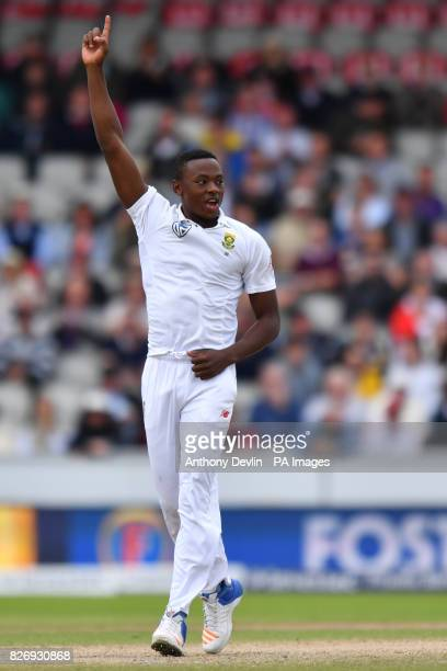 South Africa's Kagiso Rabada celebrates after England's Keaton Jennings is caught behind for 18 runs during day three of the Fourth Investec Test at...