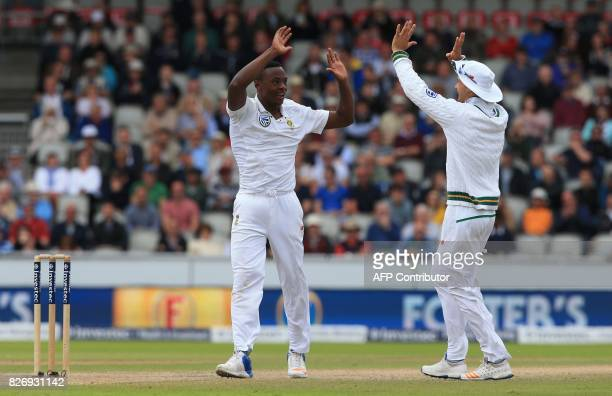 South Africa's Kagiso Rabada celebrates taking the wicket of England's Keaton Jennings during play on day 3 of the fourth Test match between England...