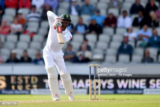 South Africa's Kagiso Rabada is caught on 1 run during day four of the Fourth Investec Test at Emirates Old Trafford Manchester