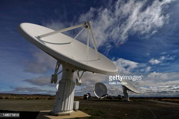 South Africa's KAT7 telescope a sevendish array which is a precursor to the much larger Square Kilometre Array near Carnarvon on July 4 2012 in the...