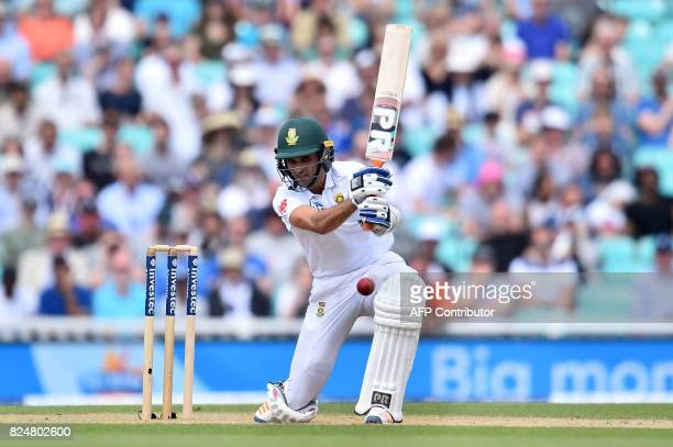 South Africa's Keshav Maharaj bats on the fifth and final day of the third Test match between England and South Africa at The Oval cricket ground in...