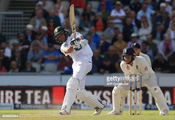 South Africa's Keshav Maharaj bats on the second day of the fourth Test match between England and South Africa at Old Trafford cricket ground in...