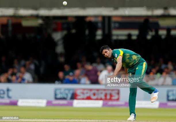 South Africa's Keshav Maharaj bowls a ball during the third OneDay International cricket match between England and South Africa at Lord's Cricket...