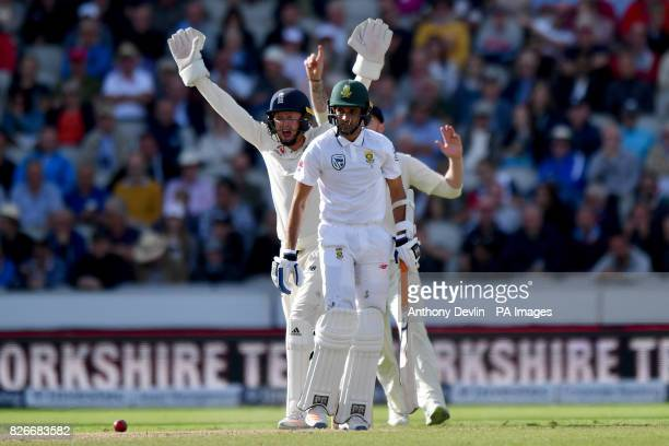 South Africa's Keshav Maharaj is given out lbw off the bowling of England's Moeen Ali during day two of the Fourth Investec Test at Emirates Old...