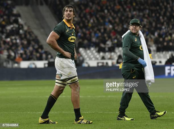 South Africa's lock and captain Eben Etzebeth looks on after being substituted during the friendly rugby union international Test match between...