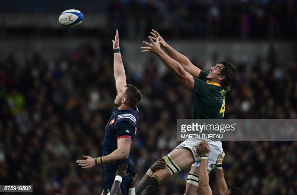 South Africa's lock and captain Eben Etzebeth reaches for the ball in a line out during the friendly rugby union international Test match between...