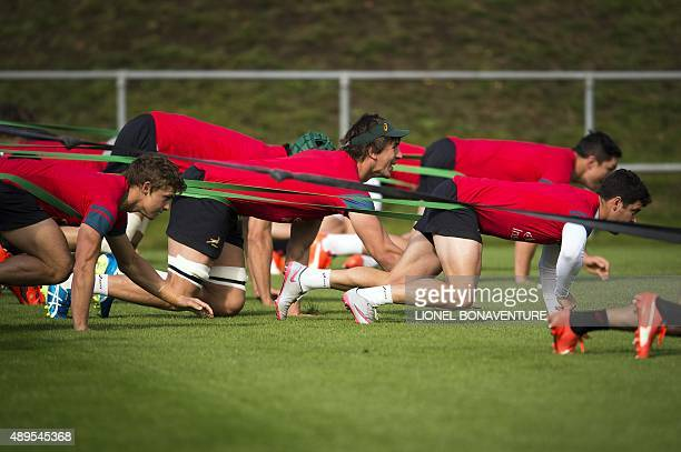 South Africa's lock Eben Etzebeth attends a team training session at Birmingham University in Birmingham on September 22 ahead of their 2015 Rugby...