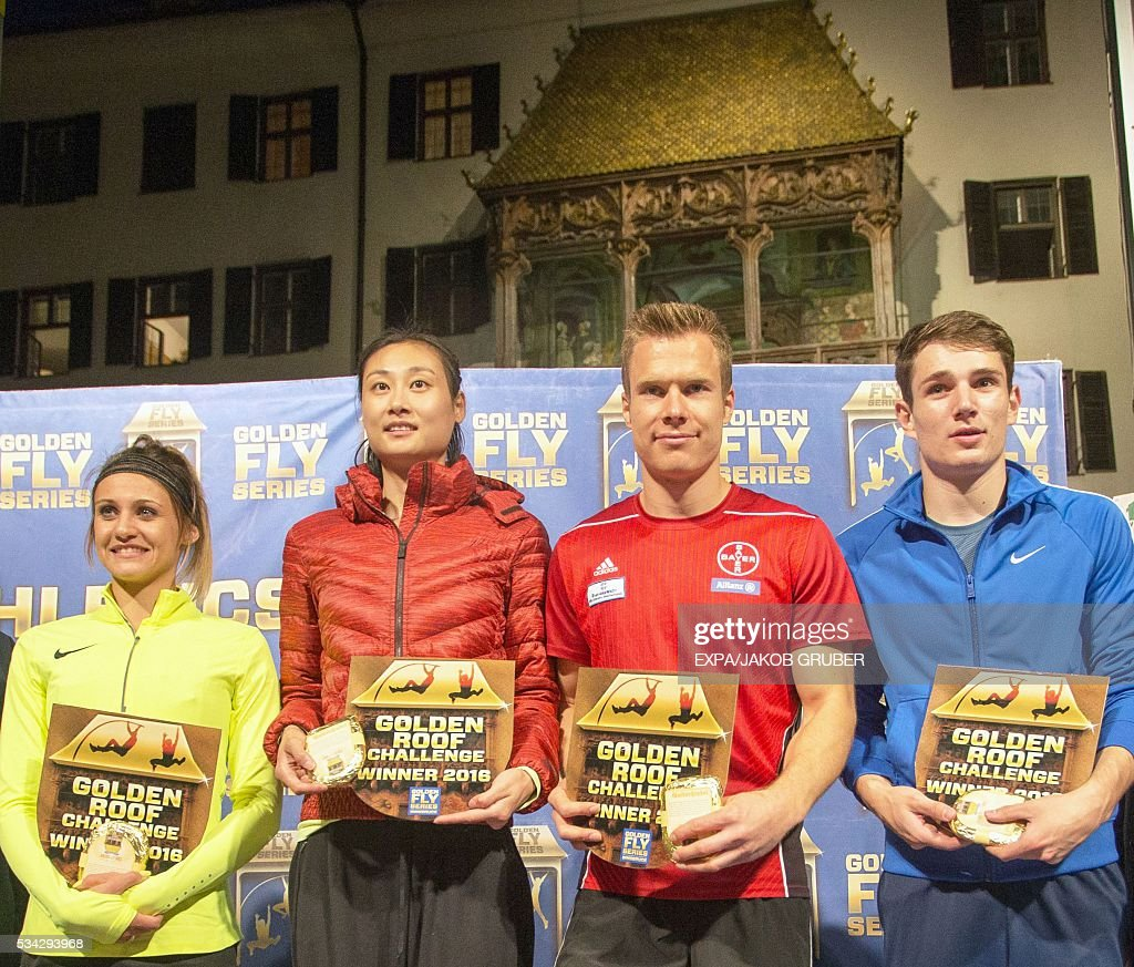 South Africa's long jump winner Lynique Prinsloo, China's pole vault winner Ling Li, Germany's long jump winner Markus Rehm and Slovenia's pole vault winner Robert Renner pose with their awards during the Golden Roof Challenge on May 25, 2016, in front of the Golden Roof in Innsbruck. / AFP / APA / EXPA/JAKOB GRUBER / Austria OUT