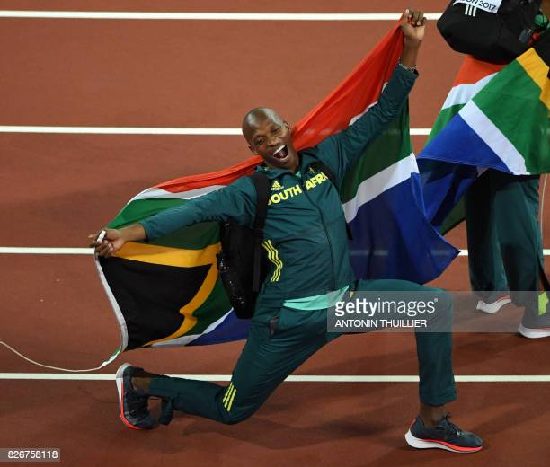 South Africa's Luvo Manyonga celebrates after winning the men's long jump athletics event at the 2017 IAAF World Championships at the London Stadium...