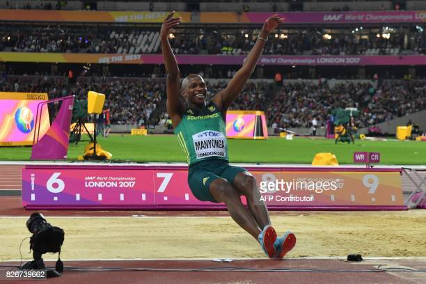 TOPSHOT South Africa's Luvo Manyonga celebrates winning the final of the men's long jump athletics event at the 2017 IAAF World Championships at the...