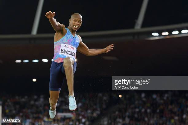 TOPSHOT South Africa's Luvo Manyonga leaps into the air during the men's long jump during the IAAF Diamond League Athletics Weltklasse meeting in...
