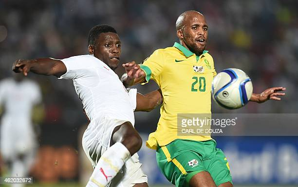 South Africa's midfielder Oupa Manyisa vies with Senegal's midfielder Papakouli Diop during the 2015 African Cup of Nations group C football match...