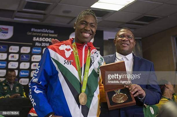 South Africa's Minister of Sport and Recreation Fikile Mbalula congratulates Caster Semenya who won gold medal women's 800m in Rio 2016 Olympic Games...
