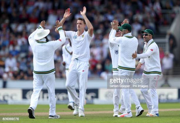 South Africa's Morne Morkel celebrates dismissing England's Dawid Malan during the Fourth Investec Test at Emirates Old Trafford Manchester