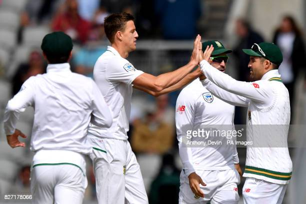 South Africa's Morne Morkel celebrates taking the wicket of England's Stuart Broad during day four of the Fourth Investec Test at Emirates Old...