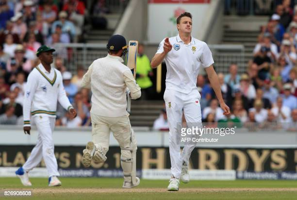 South Africa's Morne Morkel reacts as England's Tom Westley makes a run on the third day of the fourth Test match between England and South Africa at...