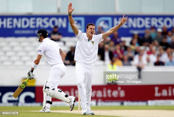 South Africa's Morne Morkel successfully appeals for the wicket of England's Kevin Pietersen during the Investec Second Test match at Headingley...