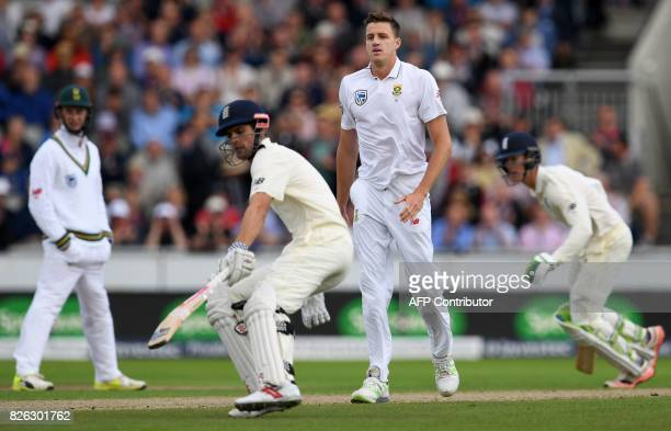 South Africa's Morne Morkel watches as England's Alastair Cook and England's Keaton Jennings add runs on the first day of the fourth test at Old...