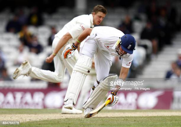 South Africas Morne Morkel watches as England's Kevin Pietersen runs in safe during the final test match between England and South Africa at the Brit...