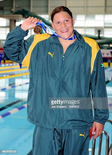 South Africa's Natalie Du Toit with her gold medal from the Women's S9 100m Freestlye