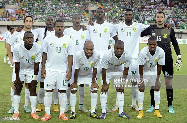 South Africa's national football team players pose before the 2015 Africa Cup of Nations qualifying football match between Nigeria and South Africa...