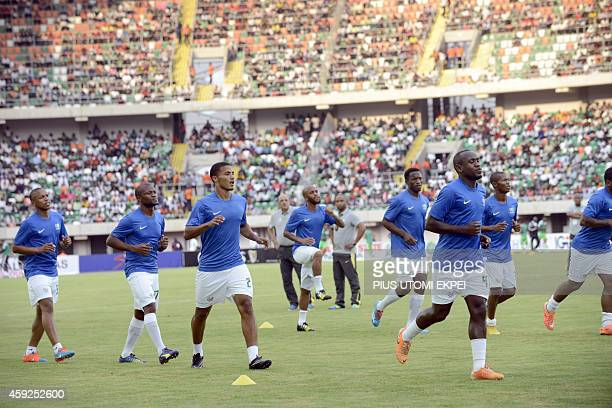 South Africa's national football team players warmup before the 2015 Africa Cup of Nations qualifying football match between Nigeria and South Africa...