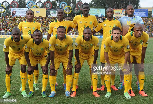 South Africa's national football team poses before the 2014 FIFA World Cup qualifying football match Ethiopia vs South Africa on June 16 2013 in...