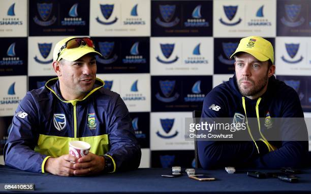 South Africa's one day captain AB de Villiers and Head Coach Russell Domingo chat to the press during the South Africa Arrival Press Conference at...