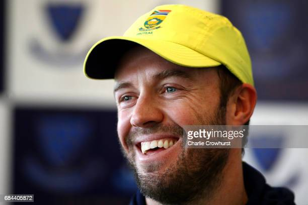 South Africa's one day captain AB de Villiers chats to the press during the South Africa Arrival Press Conference at The 1st Central County Ground on...