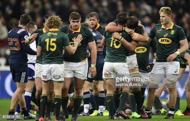 South Africa's players celebrate after victory in the friendly rugby union international Test match between France and South Africa's Springboks at...
