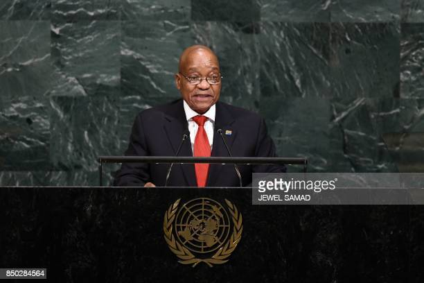 South Africa's President Jacob Zuma addresses the 72nd Session of the UN General assembly at the United Nations in New York on September 20 2017 /...