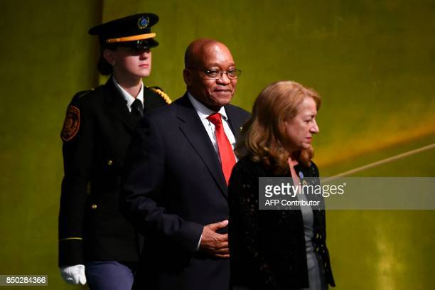 South Africa's President Jacob Zuma arrives to address the 72nd Session of the UN General assembly at the United Nations in New York on September 20...