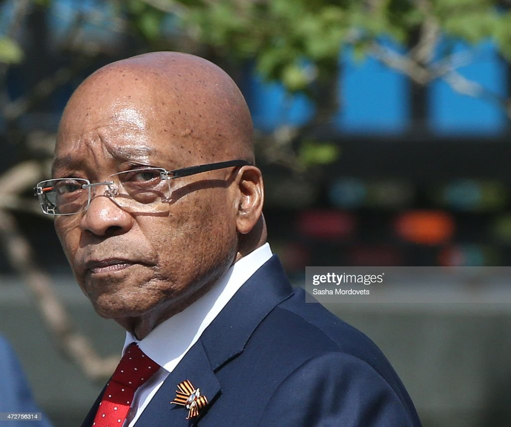 South Africa's President Jacob Zuma attends a wreath laying ceremony to the Unknown Soldiers's Tomb May 9,2015 in Moscow, Russia. Putin attended the Red Square Military Parade on May 9 to celebrate 70 years after the victory in WWII.