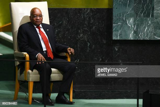South Africa's President Jacob Zuma waits to address the 72nd Session of the UN General assembly at the United Nations in New York on September 20...