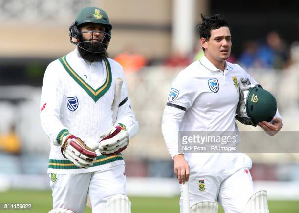 South Africa's Quinton de Kock and Hashim Amla walk off at the tea interval during day one of the Second Investec Test match at Trent Bridge...