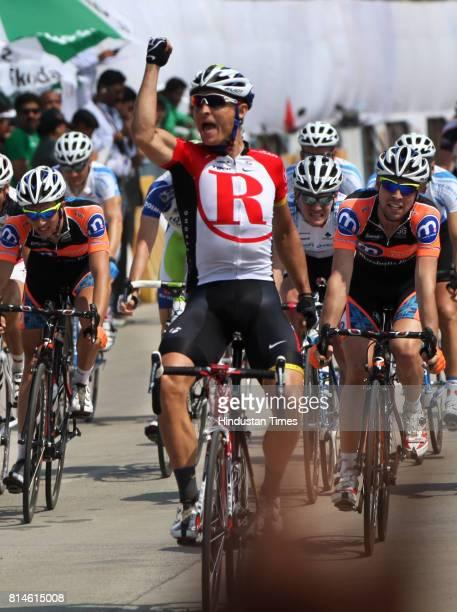 South Africa's Robert Hunter of Radio shack reacts after winning the second Tour de Mumbai in Mumbai on Feburary