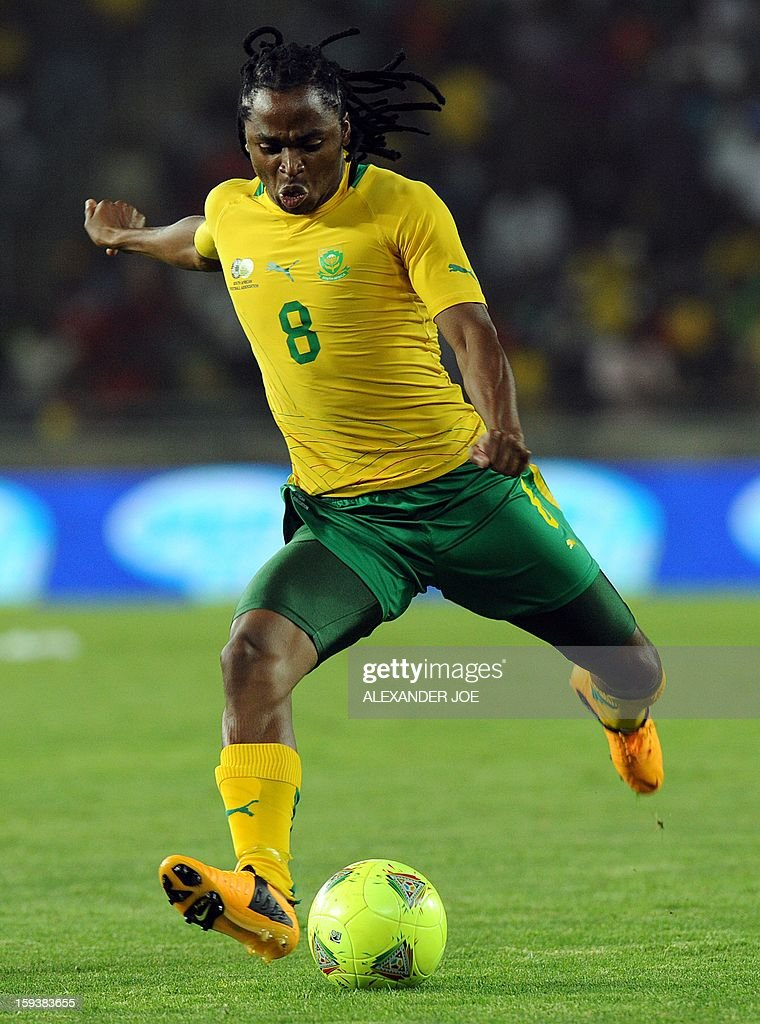 South Africa's Siphiwe Tshabalala prepares to shoot during a friendly football match between South Africa's Bafana Bafana and Algeria in Soweto on January 12 , 2013, ahead of the 2013 African Cup of Nations that will take place in South Africa from January 19 to February 10. Hosts South Africa completed their warm-up matches for the 2013 Africa Cup of Nations with another disappointing result after being held 0-0 by fellow qualiers Algeria.