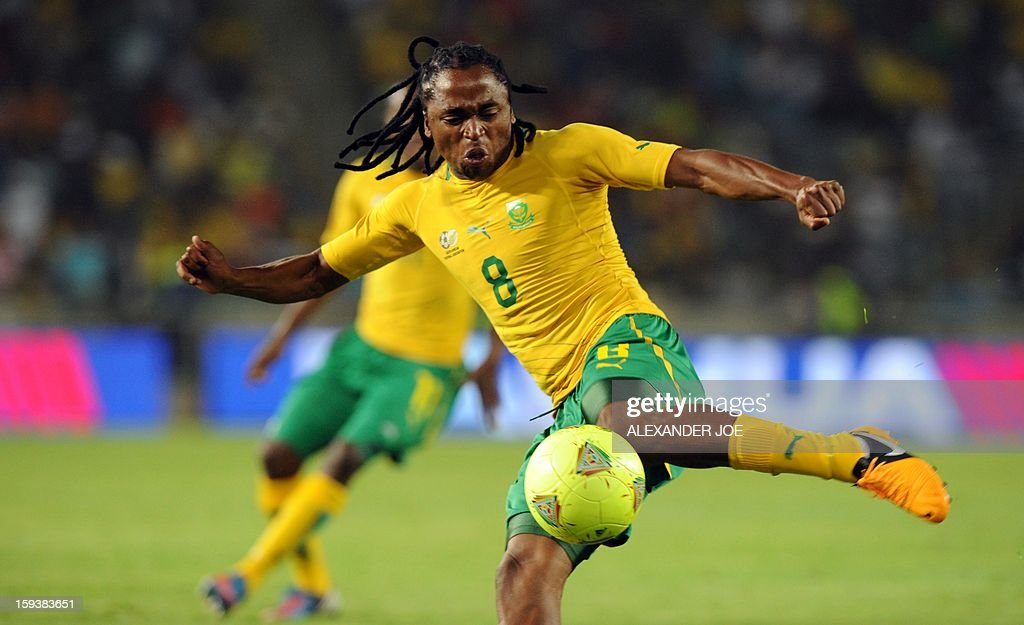 South Africa's Siphiwe Tshabalala shoots the ball during a friendly football match between South Africa's Bafana Bafana and Algeria in Soweto on January 12 , 2013, ahead of the 2013 African Cup of Nations that will take place in South Africa from January 19 to February 10. Hosts South Africa completed their warm-up matches for the 2013 Africa Cup of Nations with another disappointing result after being held 0-0 by fellow qualiers Algeria.