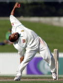 South Africa's spin bowler Paul Adams shows his unique action on day two of the first cricket test played against New Zealand at Westpac Park in...