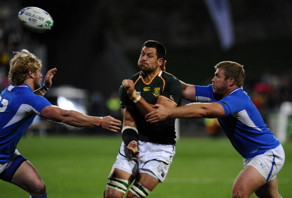 South Africa's Springbok No8 Pierre Spie : News Photo