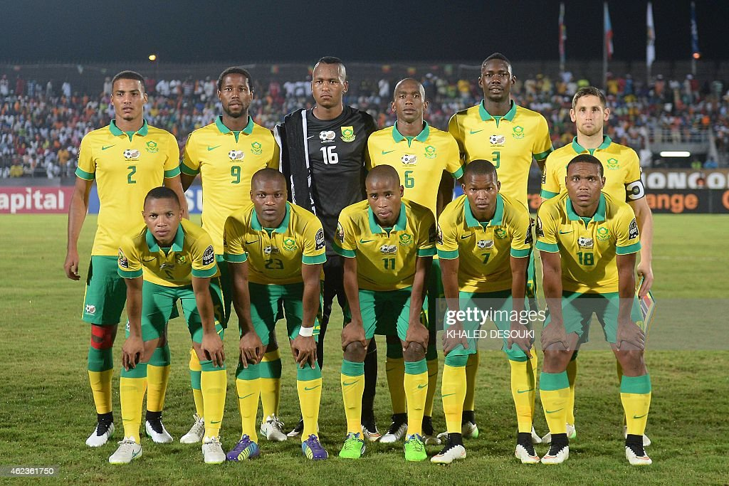 South Africa's squad (top L-R) defender Rivaldo Coetzee, forward Bongani Ndulula, goalkeeper Brilliant Khuzwayo, defender Calvin Ngonca Anele, defender Mulomowandau Eric Mathoho, midfielder Dean Furman, (bottom L-R) midfielder Andile Jali, forward Tukelo Rangies, defender Thabo Matlaba, midfielder Mandla Masango and midfielder <a gi-track='captionPersonalityLinkClicked' href=/galleries/search?phrase=Thuso+Phala&family=editorial&specificpeople=4422095 ng-click='$event.stopPropagation()'>Thuso Phala</a> pose for a group picture ahead of the 2015 African Cup of Nations group C football match between South Africa and Ghana in Mongomo on January 27, 2015. AFP PHOTO / KHALED DESOUKI
