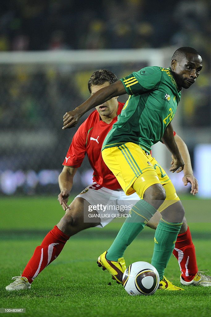 South Africa's Surprise Moriri(R) breaks away during their international friendly football match against Bulgaria at the Orlando stadium in Soweto, Johannesburg. on May 24, 2010. The 2010 FIFA World Cup football championship is due to take place in South Africa from June 11 to July 11 of 2010.