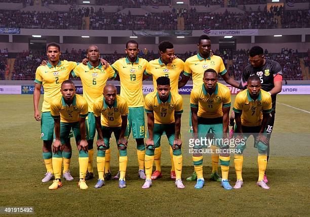 South Africa's team poses for a photo before a friendly match against Costa Rica at the national stadium in San Jose on October 8 2015 AFP PHOTO /...