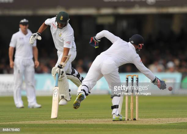 South Africa's Vernon Philander and England's Matt Prior during the Third Investec Test Match at Lord's Cricket Ground London