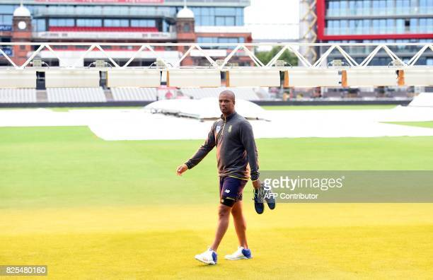 South Africa's Vernon Philander attends a nets practice session at Old Trafford cricket ground in Manchester north west England on August 2 ahead of...