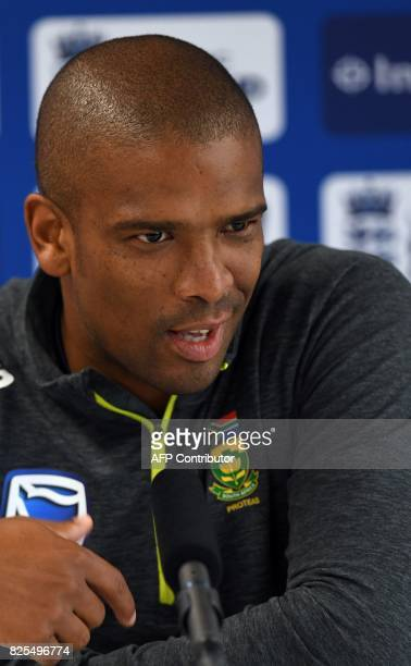 South Africa's Vernon Philander attends a press conference at Old Trafford cricket ground in Manchester north west England on August 2 ahead of the...