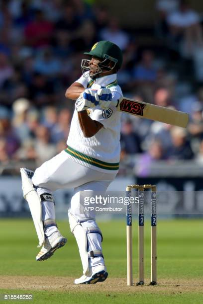 South Africa's Vernon Philander bats on the third day of the second Test match between England and South Africa at Trent Bridge cricket ground in...