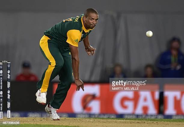 South Africa's Vernon Philander bowls during the Cricket World Cup semifinal match between New Zealand and South Africa at Eden Park in Auckland on...