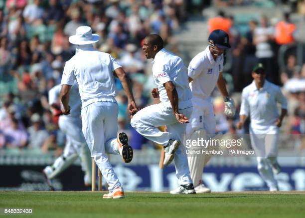 South Africa's Vernon Philander celebrates after taking the wicket of England's Alastair Cook during the Investec first test match at the Kia Oval...
